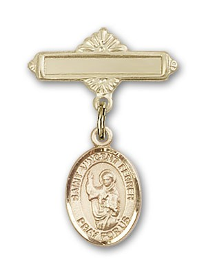 Pin Badge with St. Vincent Ferrer Charm and Polished Engravable Badge Pin - Gold Tone