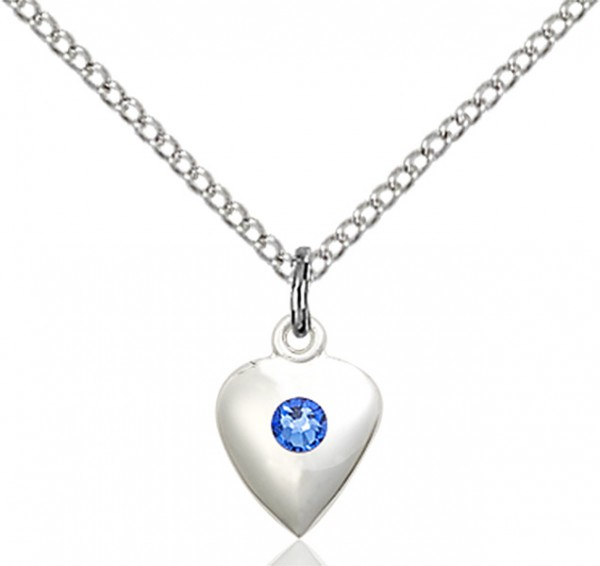 Baby Heart Pendant with Birthstone Options - Sapphire