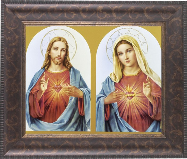 Sacred Heart of Jesus and Immaculate Heart of Mary Framed Print - #124 Frame