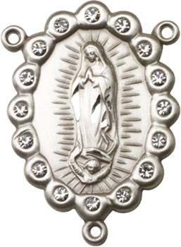 Our Lady of Guadalupe Sterling Silver Rosary Centerpiece - Sterling Silver