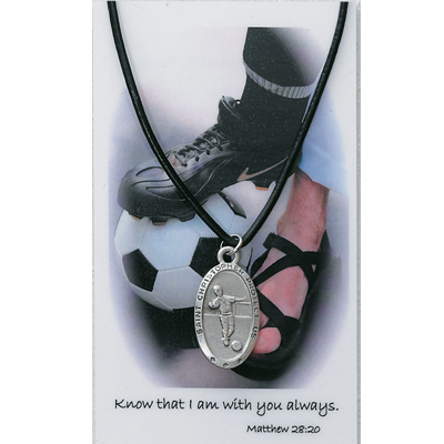 Boy's St. Christopher Soccer Medal with Leather Chain and Prayer Card - Silver tone