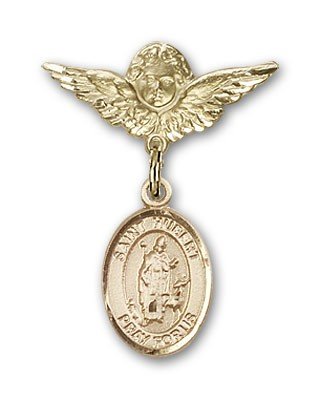 Pin Badge with St. Hubert of Liege Charm and Angel with Smaller Wings Badge Pin - 14K Yellow Gold