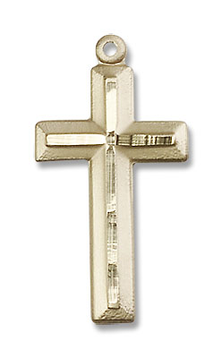 Matte Satin Finish Cross Women's Cross Necklace - 14K Solid Gold