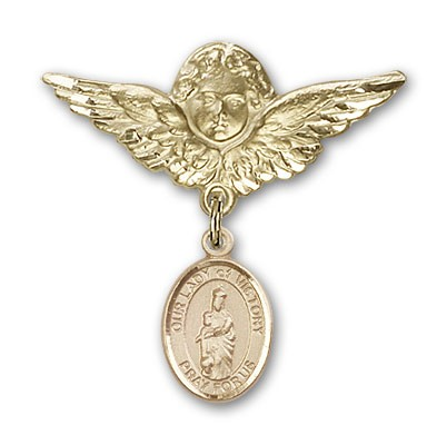 Pin Badge with Our Lady of Victory Charm and Angel with Larger Wings Badge Pin - 14K Yellow Gold