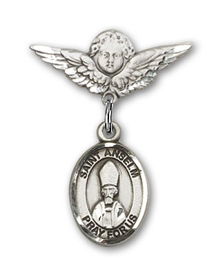 Pin Badge with St. Anselm of Canterbury Charm and Angel with Smaller Wings Badge Pin - Silver tone