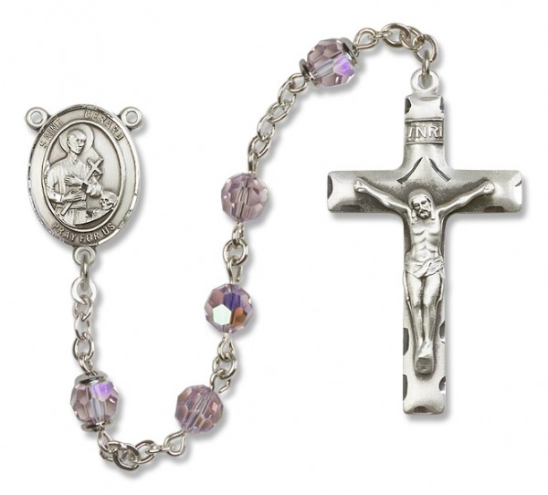 St. Gerard Majella Sterling Silver Heirloom Rosary Squared Crucifix - Light Amethyst