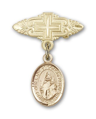 Pin Badge with Our Lady of Consolation Charm and Badge Pin with Cross - 14K Solid Gold