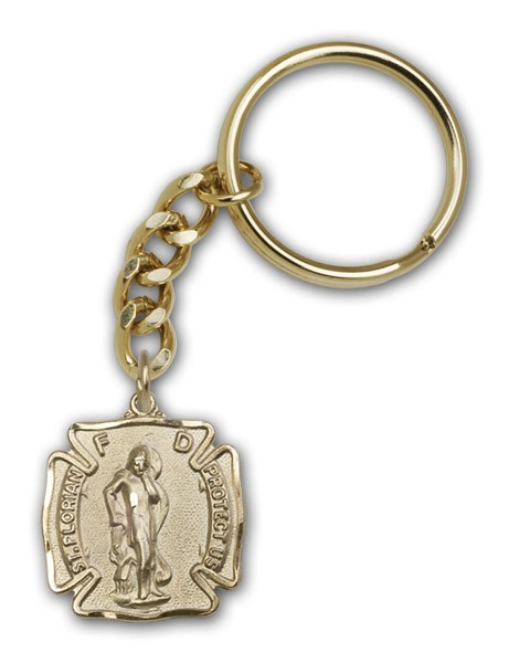 St. Florian Shield Keychain - Antique Gold