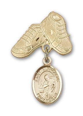 Pin Badge with St. Alphonsus Charm and Baby Boots Pin - 14K Solid Gold