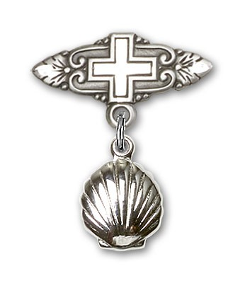 Baby Pin with Shell Charm and Badge Pin with Cross - Silver tone