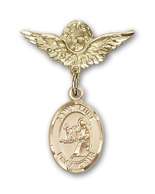 Pin Badge with St. Luke the Apostle Charm and Angel with Smaller Wings Badge Pin - 14K Solid Gold