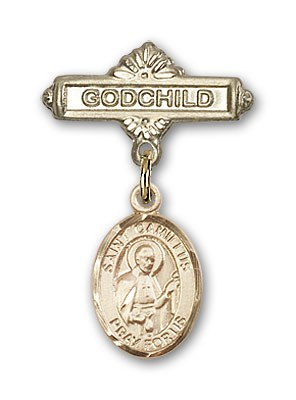 Pin Badge with St. Camillus of Lellis Charm and Godchild Badge Pin - Gold Tone