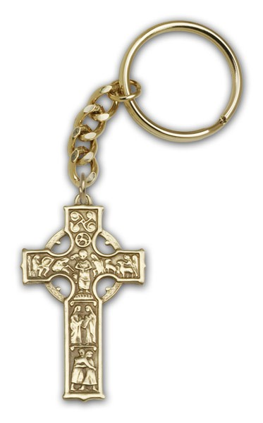 Celtic Cross Keychain - Antique Gold