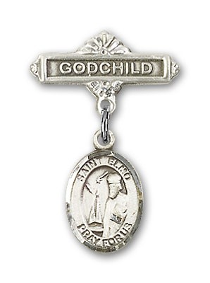 Pin Badge with St. Elmo Charm and Godchild Badge Pin - Silver tone