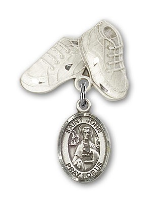 Pin Badge with St. John the Apostle Charm and Baby Boots Pin - Silver tone