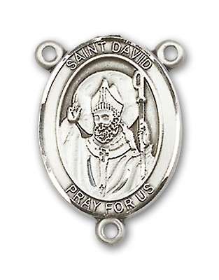 St. David of Wales Rosary Centerpiece Sterling Silver or Pewter - Sterling Silver