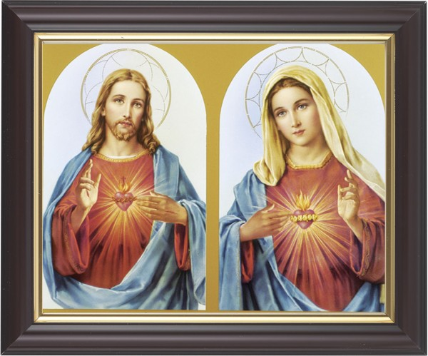 Sacred Heart of Jesus and Immaculate Heart of Mary Framed Print - #133 Frame