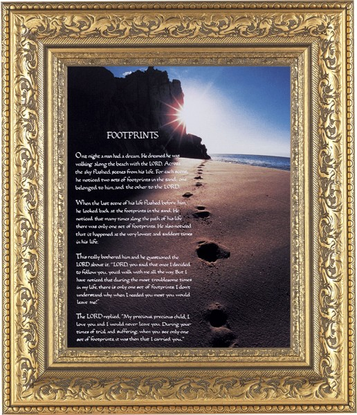 Footprints Prayer Framed Print - #115 Frame