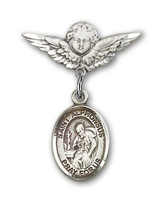 Pin Badge with St. Alphonsus Charm and Angel with Smaller Wings Badge Pin - Silver tone