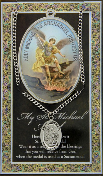 St. Michael  Medal in Pewter with Bi-Fold Prayer Card - Silver tone