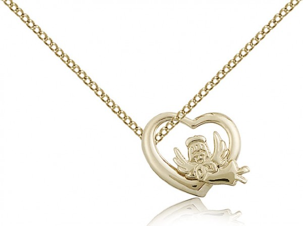 Guardian Angel and Heart Medal - 14KT Gold Filled