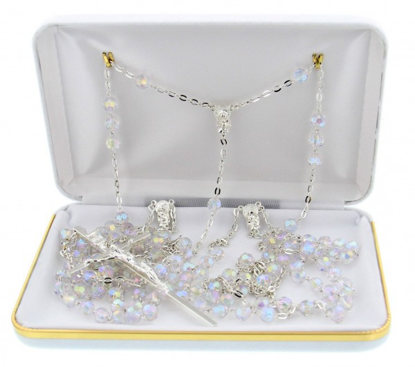 Silver Tone and Crystal Wedding Lasso Rosary - With Deluxe Box
