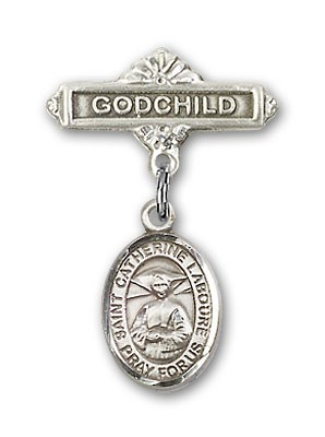 Pin Badge with St. Catherine Laboure Charm and Godchild Badge Pin - Silver tone
