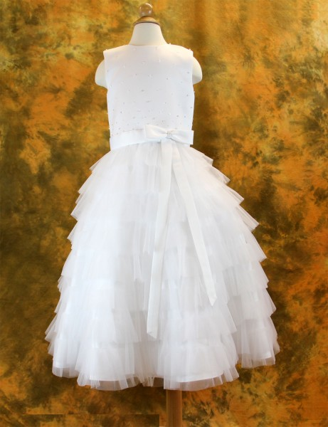 First Communion Dress Tiered Layered Tulle Skirt,  Size 6 - White