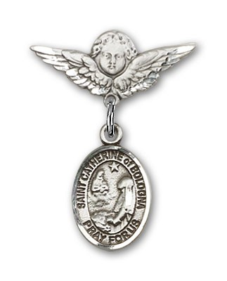 Pin Badge with St. Catherine of Bologna Charm and Angel with Smaller Wings Badge Pin - Silver tone