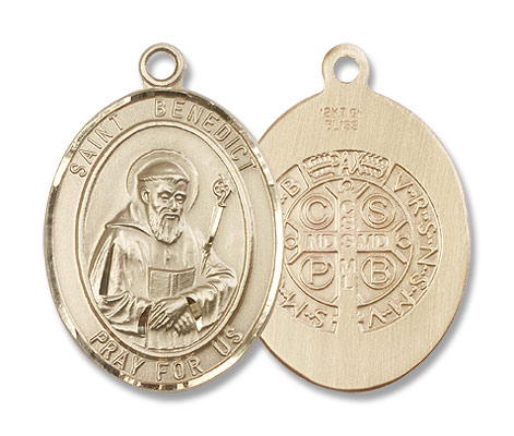 Double Sided Oval St. Benedict Medal - 14K Yellow Gold