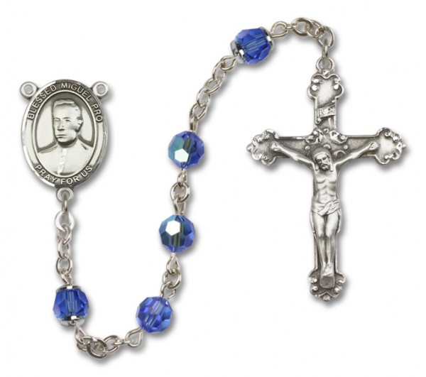 Blessed Miguel Pro Sterling Silver Heirloom Rosary Fancy Crucifix - Sapphire