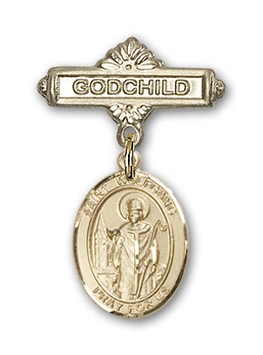 Pin Badge with St. Wolfgang Charm and Godchild Badge Pin - Gold Tone