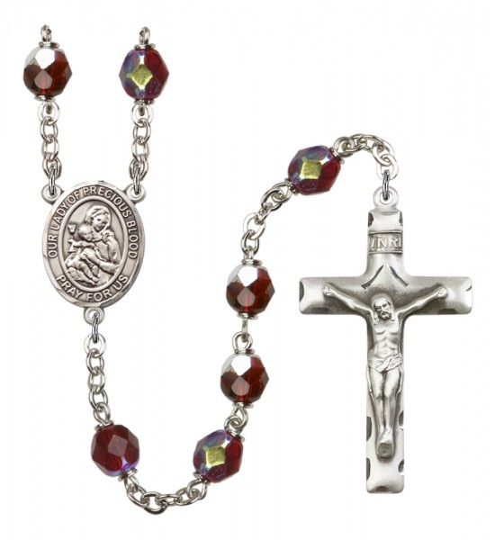 Men's Our Lady of the Precious Blood Silver Plated Rosary - Garnet