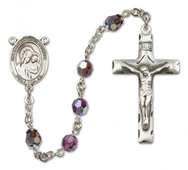 Our Lady of Good Counsel Rosary Heirloom Squared Crucifix - Amethyst