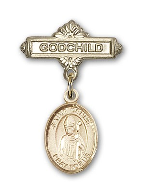Pin Badge with St. Dennis Charm and Godchild Badge Pin - Gold Tone