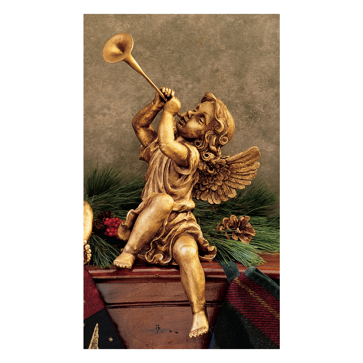 Girl Trumpeting Angel Statue - Gold