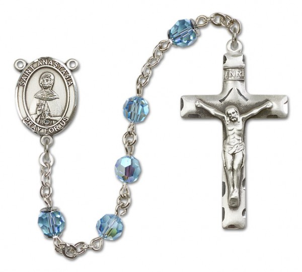 St. Anastasia Sterling Silver Heirloom Rosary Squared Crucifix - Aqua
