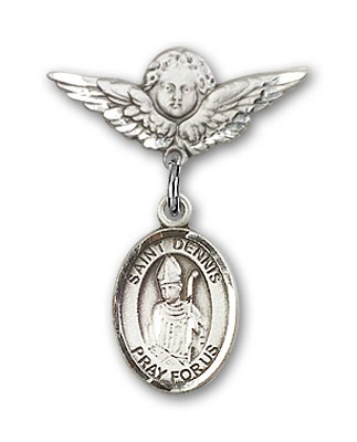 Pin Badge with St. Dennis Charm and Angel with Smaller Wings Badge Pin - Silver tone