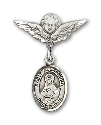 Pin Badge with St. Alexandra Charm and Angel with Smaller Wings Badge Pin - Silver tone
