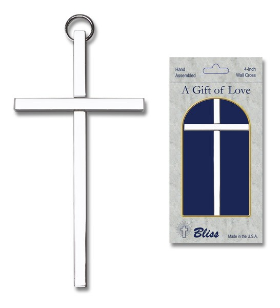 "Plain Wall Cross 4"", two color combinations - Silver tone"