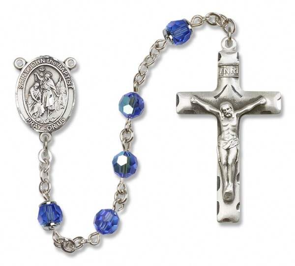 St. John the Baptist Sterling Silver Heirloom Rosary Squared Crucifix - Sapphire