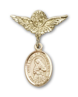 Pin Badge with Our Lady of Providence Charm and Angel with Smaller Wings Badge Pin - Gold Tone