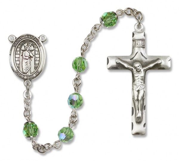 St. Matthias the Apostle Sterling Silver Heirloom Rosary Squared Crucifix - Peridot