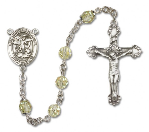 San Miguel the Archangel Sterling Silver Heirloom Rosary Fancy Crucifix - Jonquil