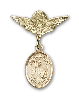 Pin Badge with St. Kilian Charm and Angel with Smaller Wings Badge Pin - 14K Yellow Gold