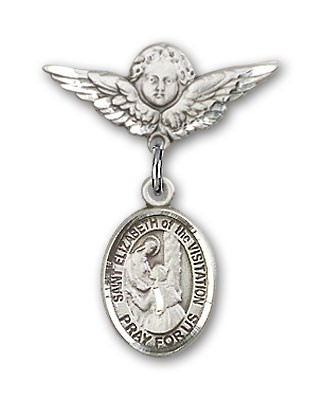 Pin Badge with St. Elizabeth of the Visitation Charm and Angel with Smaller Wings Badge Pin - Silver tone