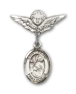 Pin Badge with St. Kevin Charm and Angel with Smaller Wings Badge Pin - Silver tone