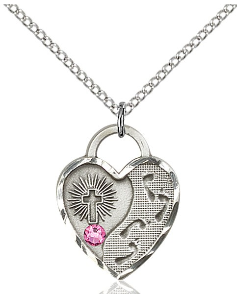 Heart Shaped Footprints Pendant with Birthstone Options - Rose