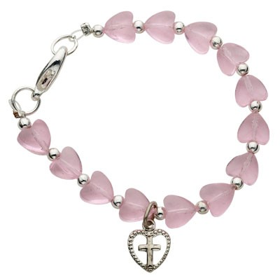 Pink Heart Baby Bracelet with Cross Charm   - Pink