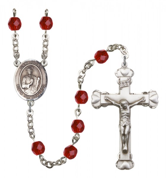 Women's San Judas Birthstone Rosary - Ruby Red